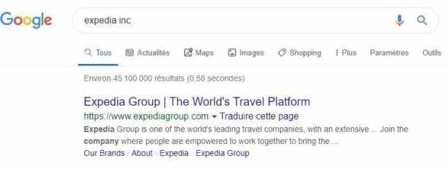 résultat d'une recherche web pour Expedia Inc