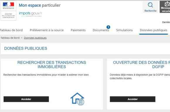 Accès au simulateur Patrim pour obtenir les données précédentes transactions immobilières