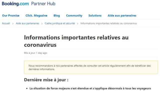 Gestion du coronavirus codid-19 par Booking.com