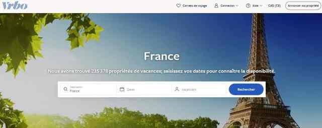 Page d'accueil du site VRBO France-Canada.   Choisir les meilleurs sites pour poster votre annonce est indispensable pour booster vos réservations et ne pas être dépendant