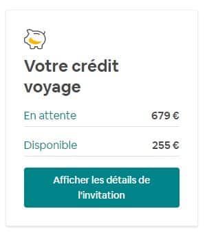 Crédits de voyage en attente et disponibles