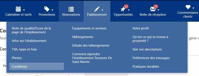 Interface de l'Extranet Booking