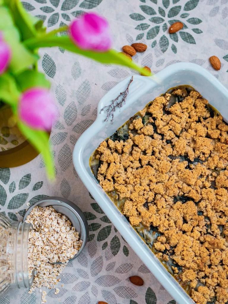 Crumble de blettes sans gluten aux amandes et parmesan
