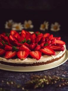 tarte aux fraise au spéculoos sans cuisson