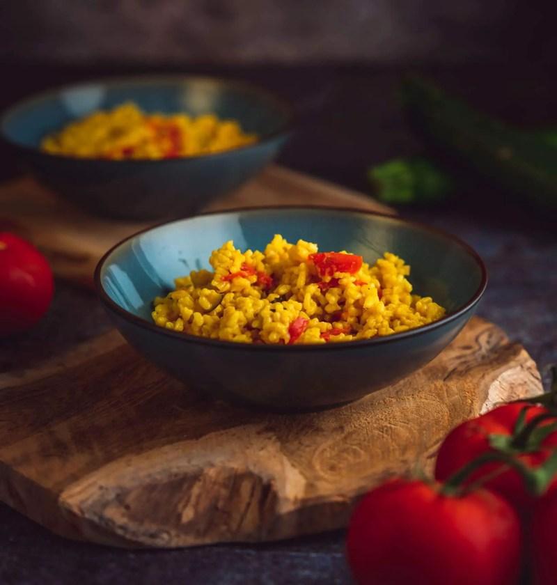 risotto courgette poivron et curcuma au parmesan