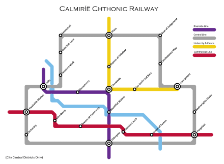 [map of the Calmiríë Chthonic Railway]