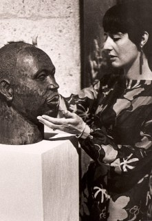 Eleanor Creekmore Dickinson with wood bust 1967