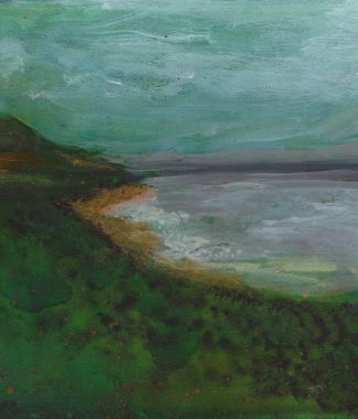 © 2015 Eleanore Ditchburn, Looking to Dunvegan, Skye, Acrylic on Gessobord 10 x 10 cm