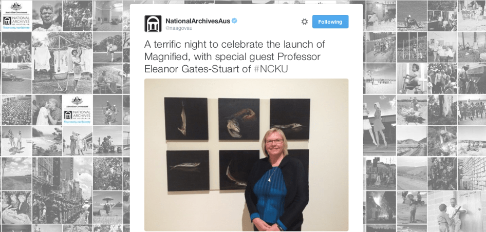 Professor Eleanor Gates-Stuart launching 'Magnified' at the National Archives of Australia