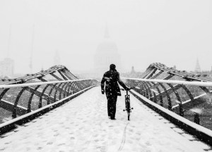 Snow on the Millennium Bridge