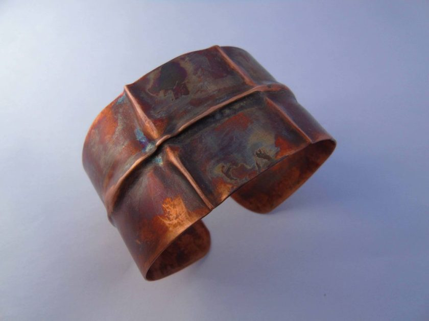 fold formed copper cuff bracelet from above