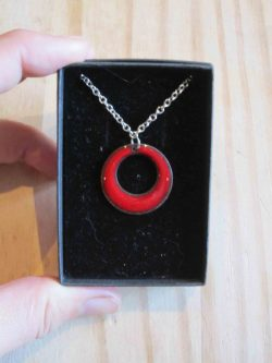 red enamelled necklace circle