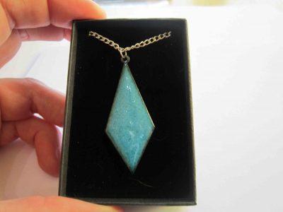 diamond shaped blue with specks necklace pendant