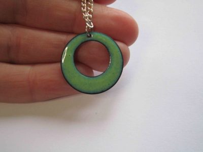 Pale green round necklace pendant