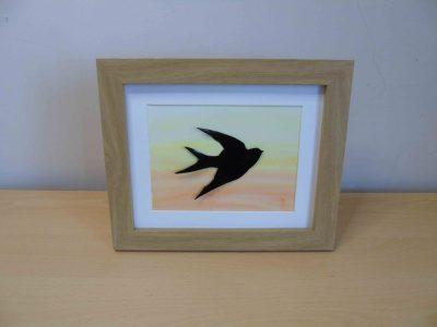 enamelled copper swallow silhouette