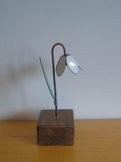 Side view of enamelled copper snowdrop