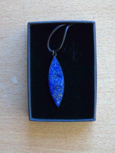 Blue swirly enamelled navette in its box