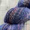 Closeup detail of hand spun yarn - BFL, Llama and sparkle yarn by Eleanor Shadow