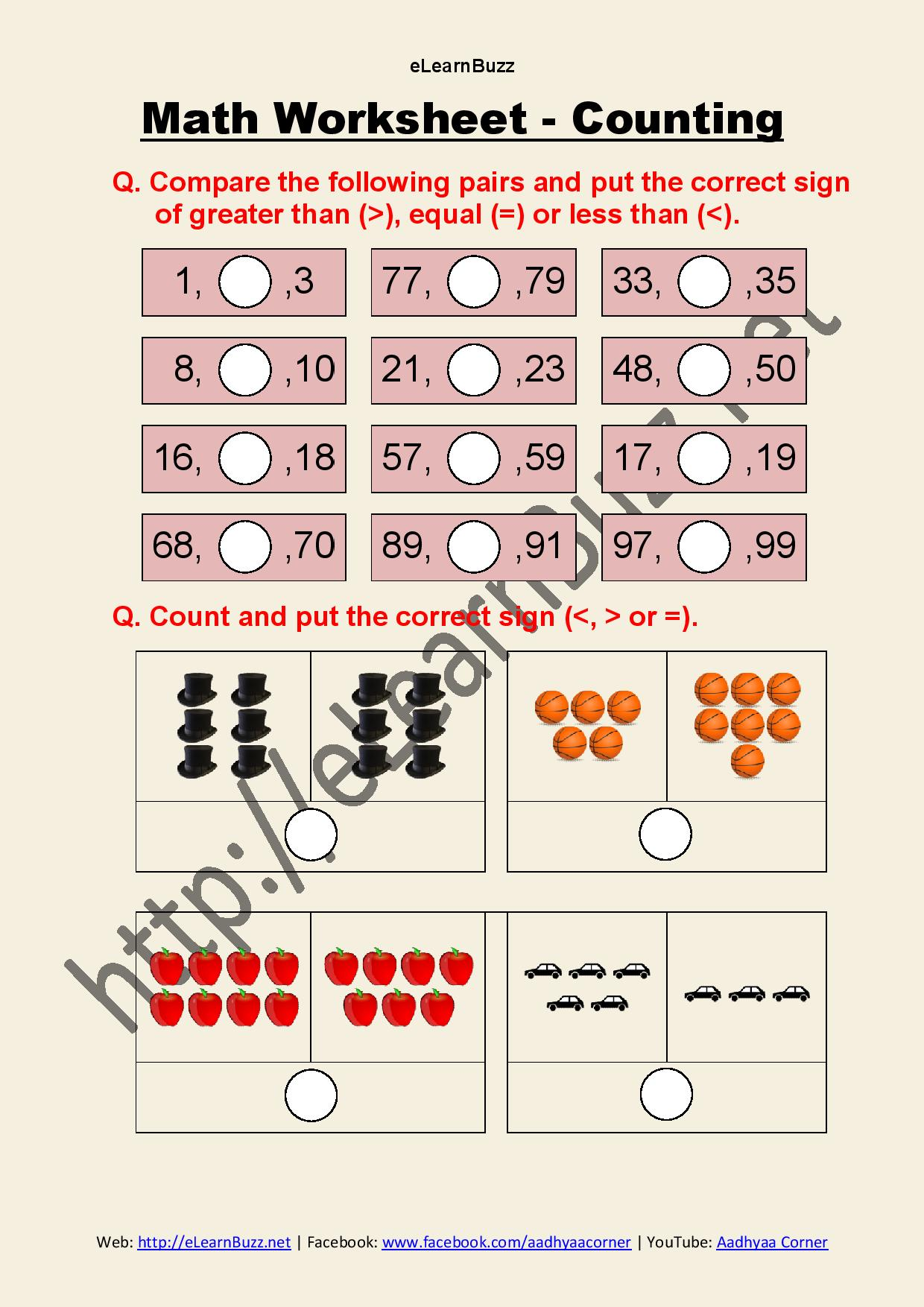 Counting Worksheet For Class 1 And Ukg Math