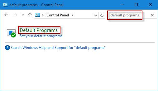 Click Default Programs