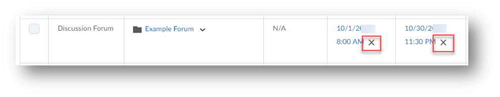 Select the X to remove the start and/or end dates.