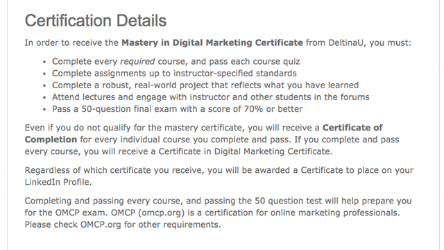 Certificate Program - Elearning Delta
