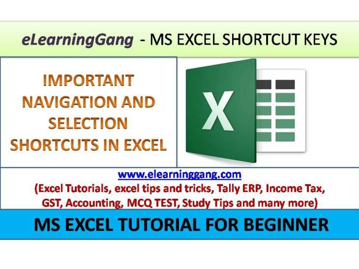 Excel Shortcut Keys -eLearningGang.com