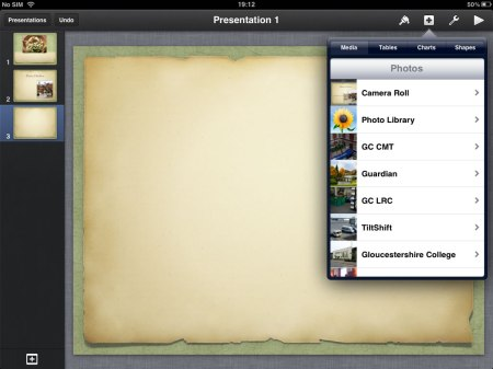 You can of course add images direct into slides of the presentation from the + button at the top right of the screen.