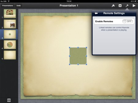 On the Remote menu, Enabling Remotes allows you to use your iPhone to control the iPad when presenting.