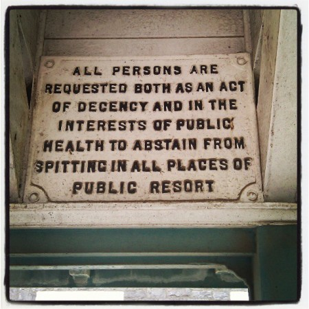 This sign is from a shelter on the promenade in Weston-super-Mare, not sure of the age, but if I was to guess I would say from the 1950s.