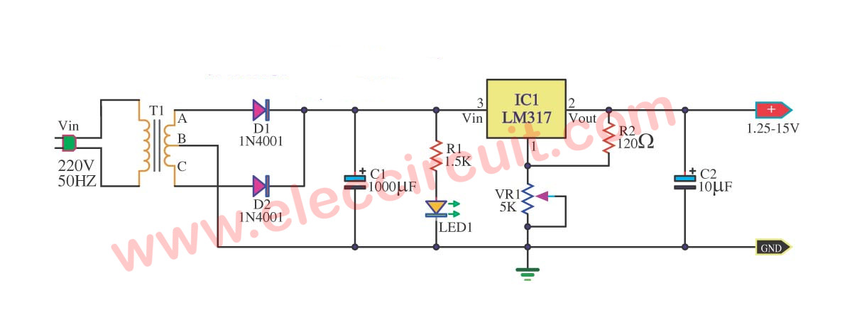 Adjustment DC Power Supply 1.25-15V Max Current 0.5 Amp