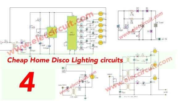 Cheap Home Disco Lights Circuit By SCR-IC555-IC4017