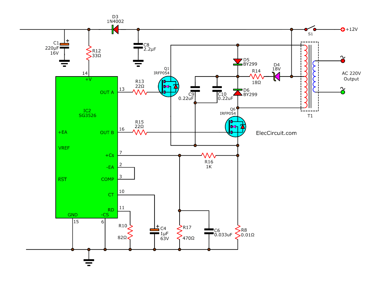 The Output Circuit Of 200 Watts Home Power Inverter