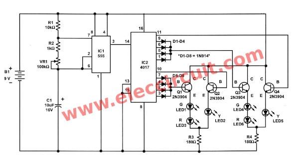 Traffic Light Controller Circuit Using CD4027