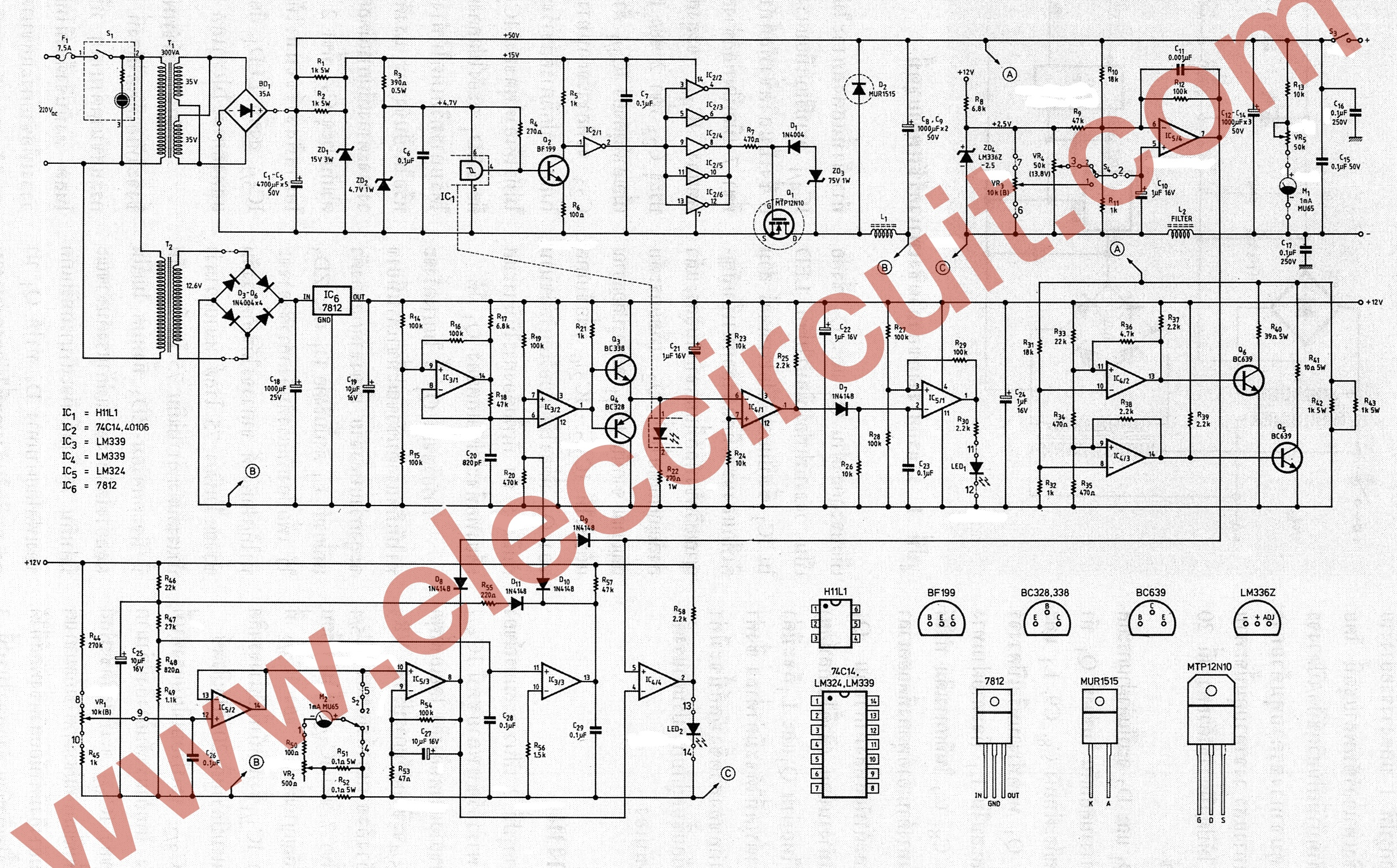 0-45V 8A DC Switching Power Supply Circuit Project