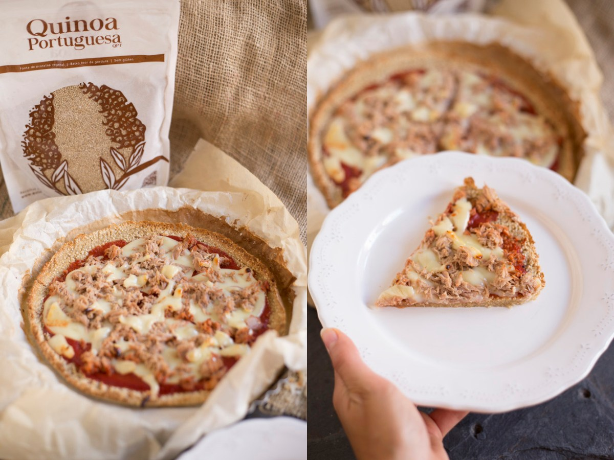 Pizza com base de Quinoa
