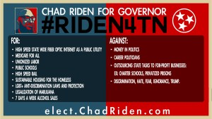 Chad Riden for TN Governor for / against infographic #RiDEN4TN