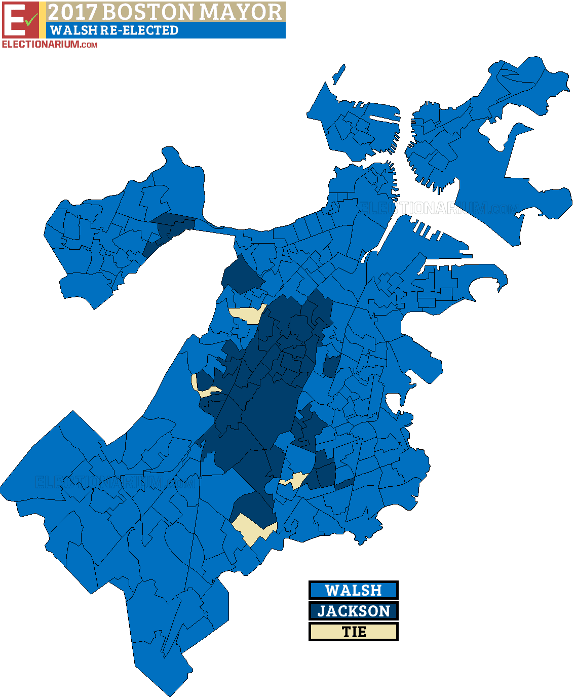 Boston Mayoral Election 2017 results map city precincts