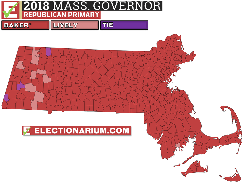 2018 Massachusetts Primary Results Republican Governor Map