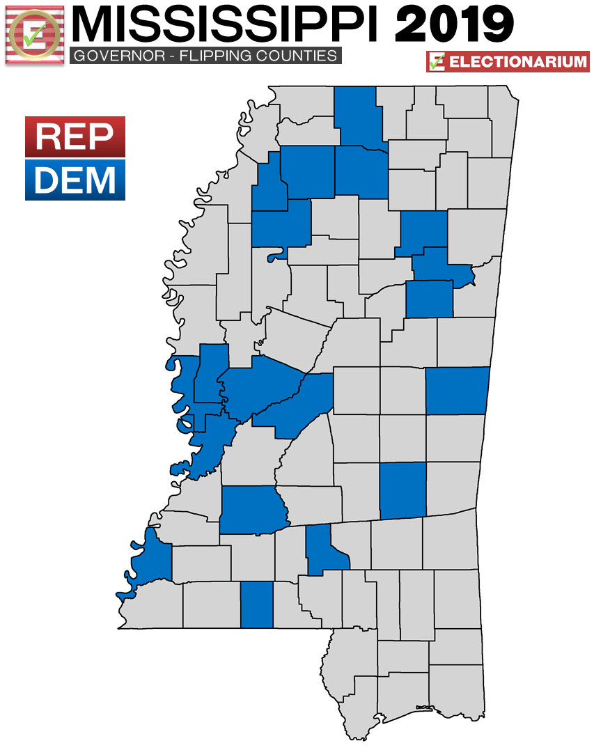Mississippi Governor 2019 Election Results Map Flipping Counties