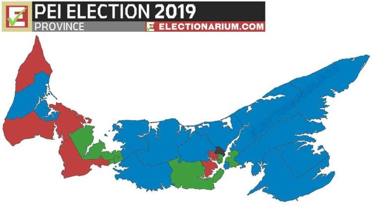 2019 Prince Edward Island Election results - map
