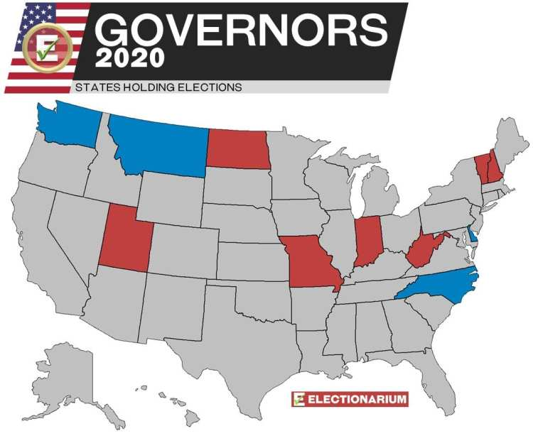 2020 Governors Races Map