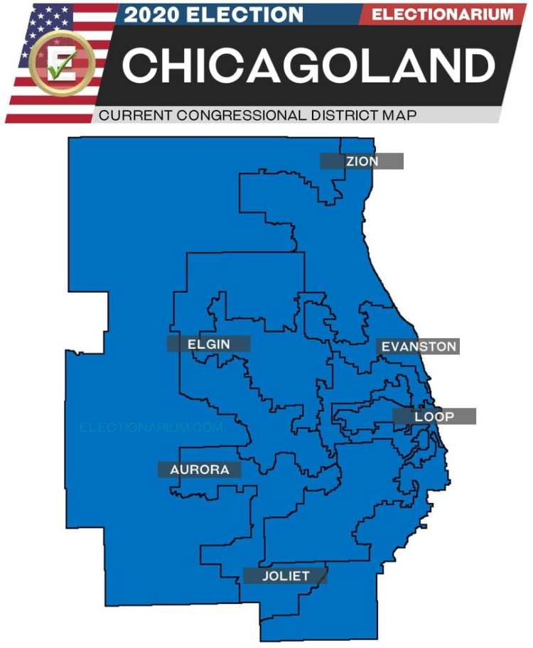 2020 Illinois House Races Chicago - pre-election map