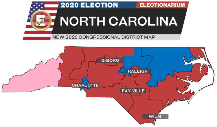 2020 North Carolina House Races - pre-election map