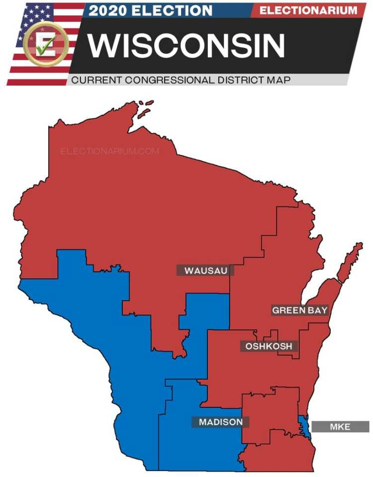 2020 Wisconsin House Races - pre-election map