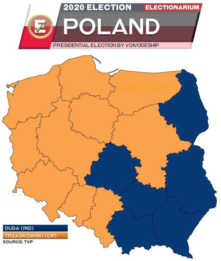 2020 Polish Presidential Election - voivodeships