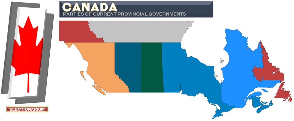 Canadian Current Provincial Governments 8-22-21