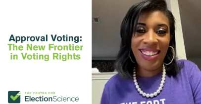 """The left side of the photo says """"Approval Voting: The New Frontier in Voting Rights"""" and the right side shows a photo of Tiesa Leggett, one of the event panelists."""