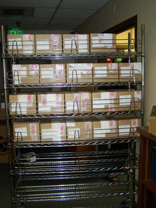 Boxes containing ballots on cart