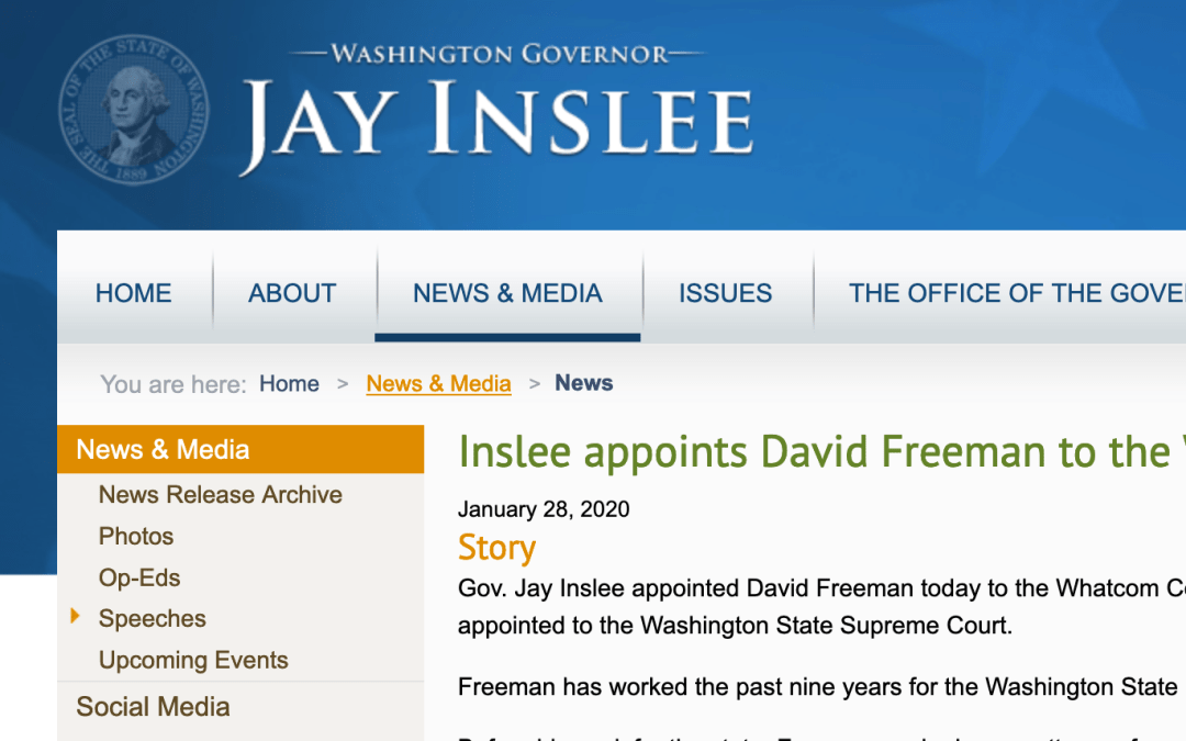 Inslee appoints David Freeman to the Whatcom County Superior Court